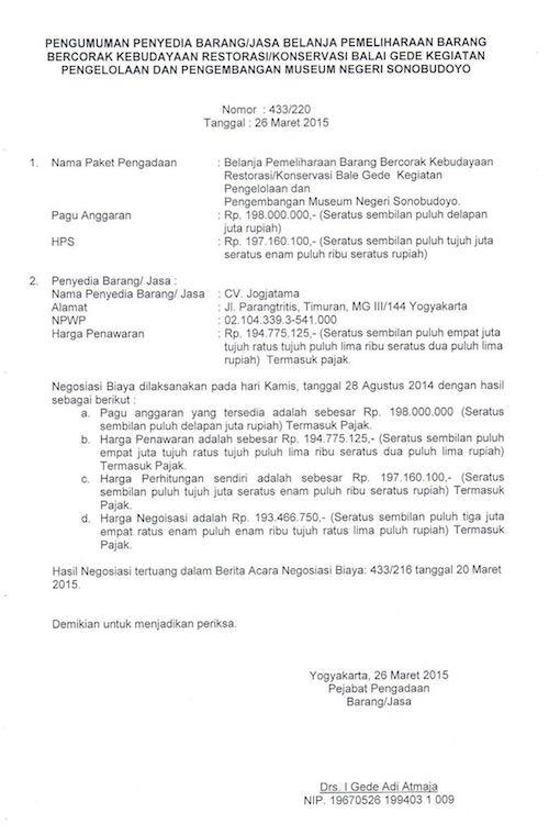 Pengumuman Penyedia Barang / Jasa Restorasi /  Konservasi Balai Gede