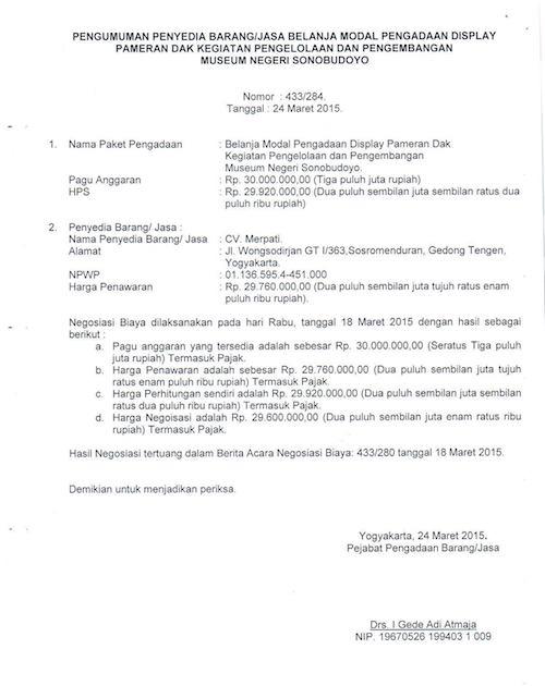 Pengumuman Penyedia Barang / Jasa Display Pameran Dak