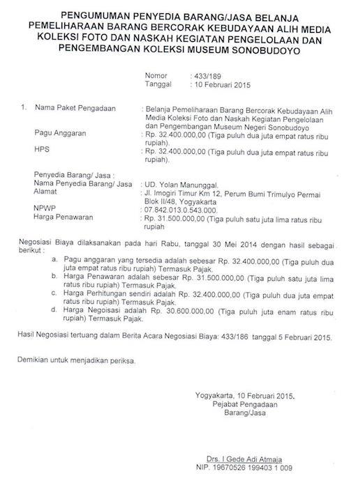 Pengumuman Penyedia Barang / Jasa Belanja Alih Media Koleksi Foto Dan Naskah
