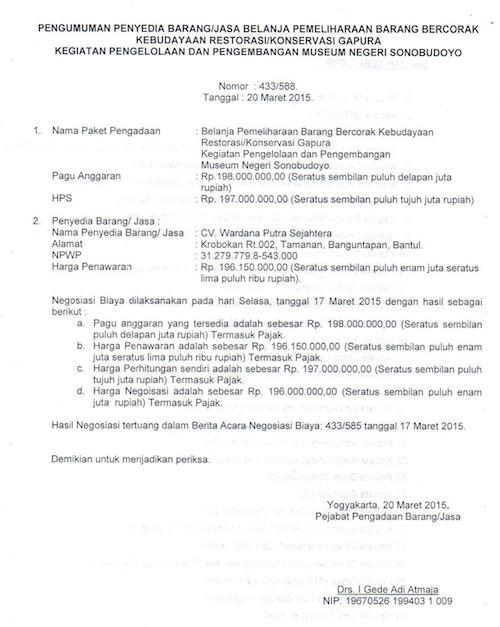 Pengumuman Penyedia Barang / Jasa Konservasi Restorasi Gapura